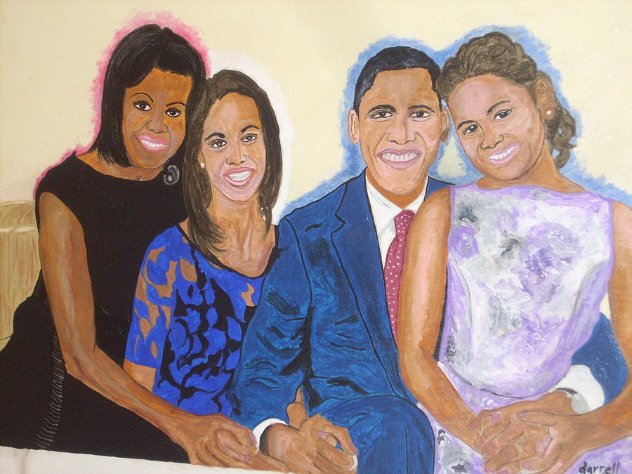 African American First Family Painting - First Family by Darrell Hughes