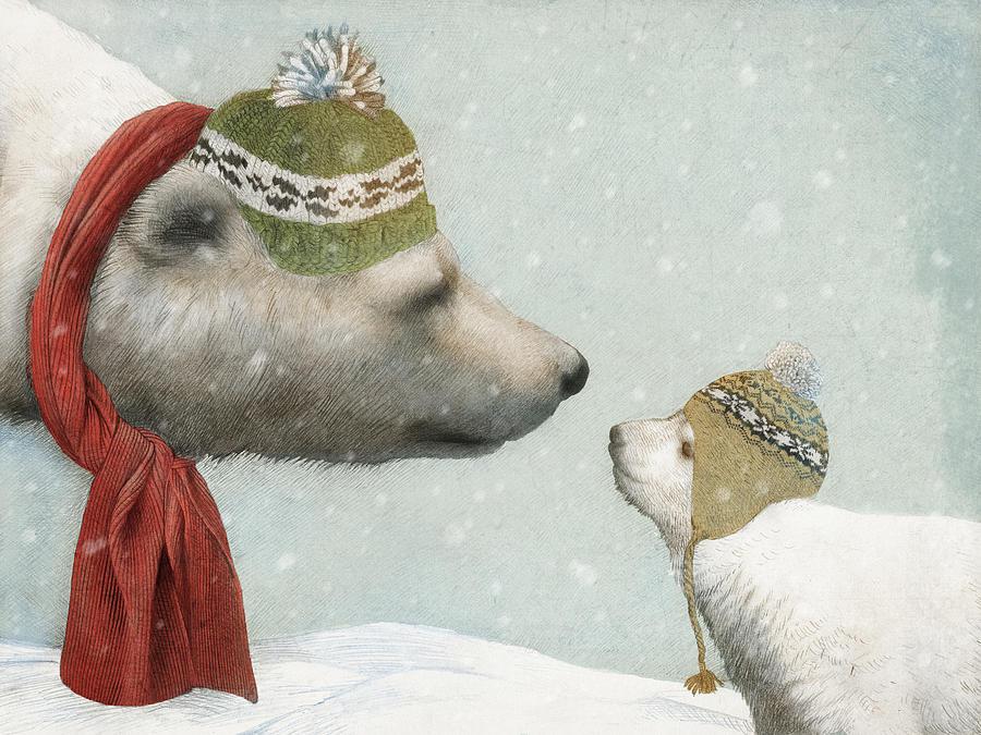 Polar Bear Drawing - First Winter by Eric Fan