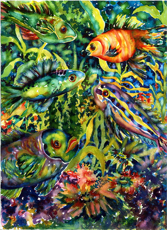 Tropical Fish Painting - Fish Tales IIi by Ann  Nicholson