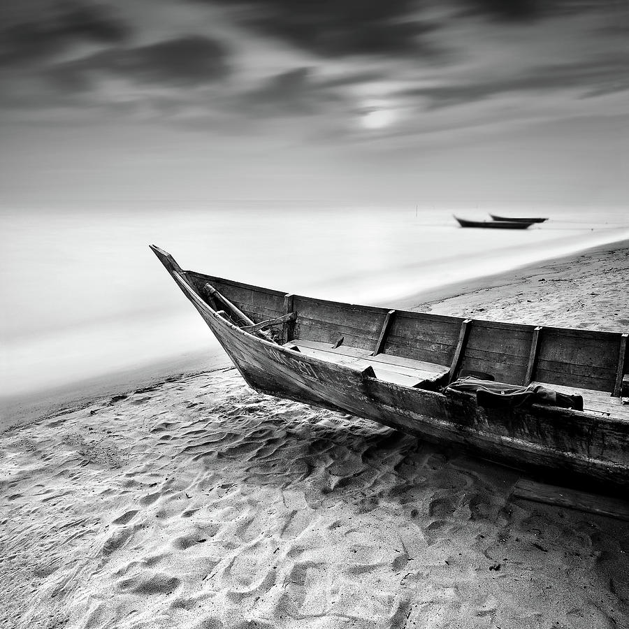 Fisherman Boat At Beach In Black And Photograph by Photography By Azrudin