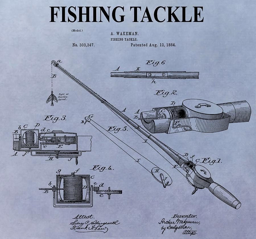 Fishing tackle patent digital art by dan sproul for American fishing tackle company
