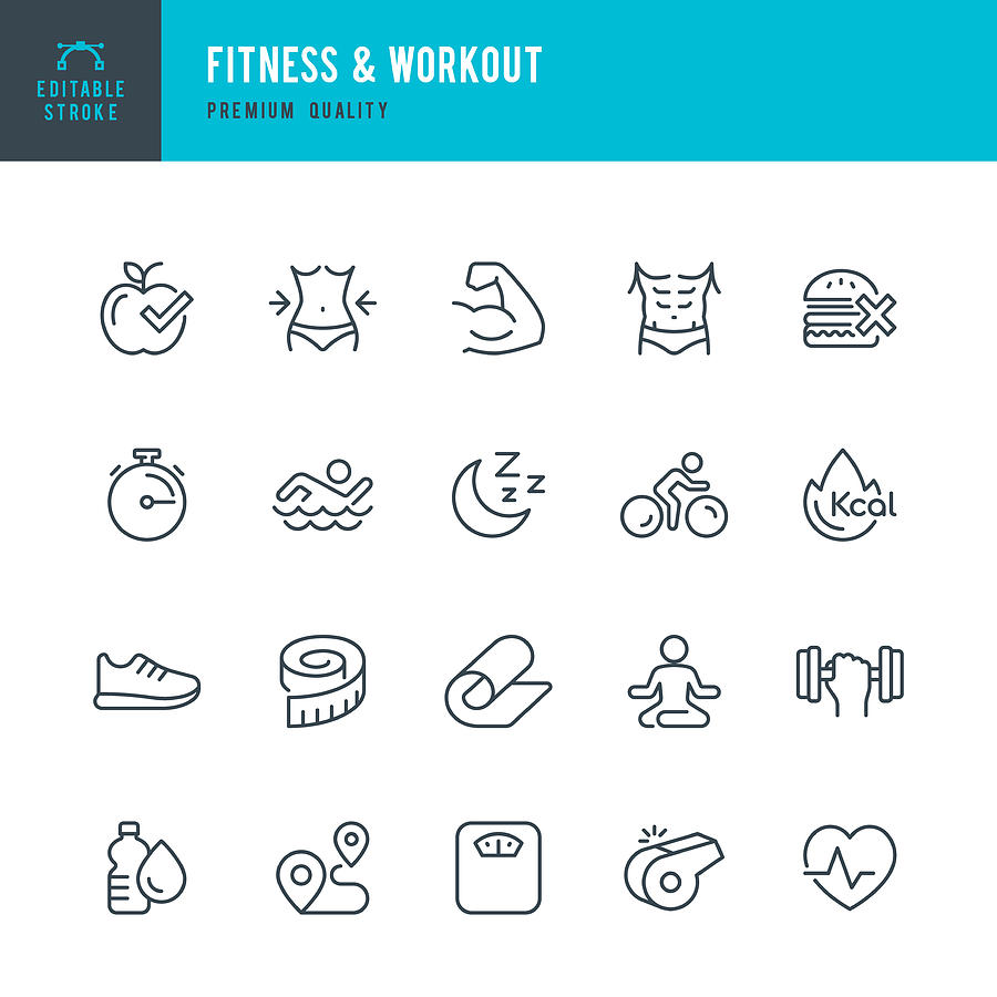 Fitness & Workout - set of thin line vector icons Drawing by Fonikum