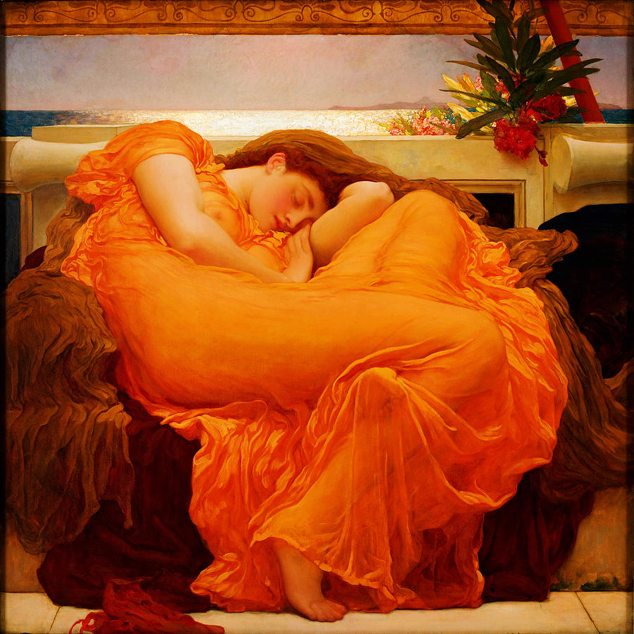 Frederick Leighton Painting - Flaming June by Celestial Images