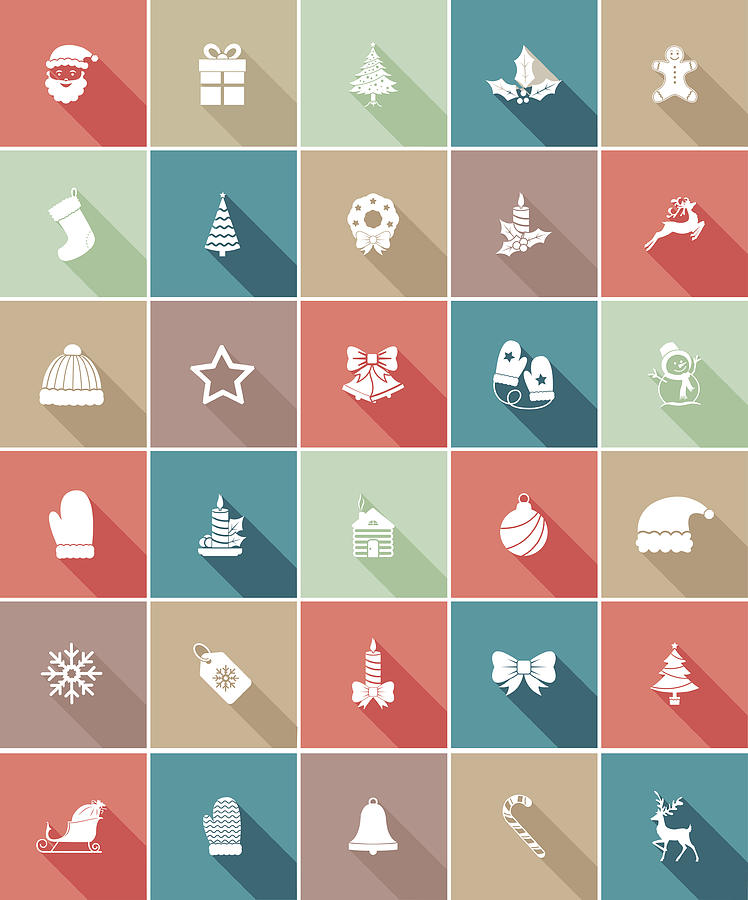 Flat Color UI Long Shadow Website Christmas Icon Drawing by Diane Labombarbe