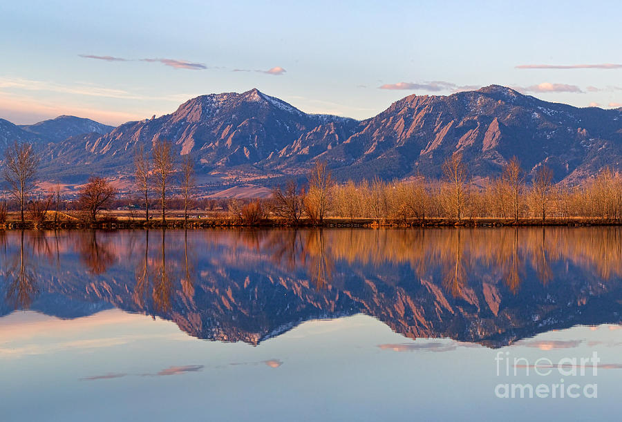 Flatirons Sunrise Reflections Light Panorama Boulder Colorado Photograph