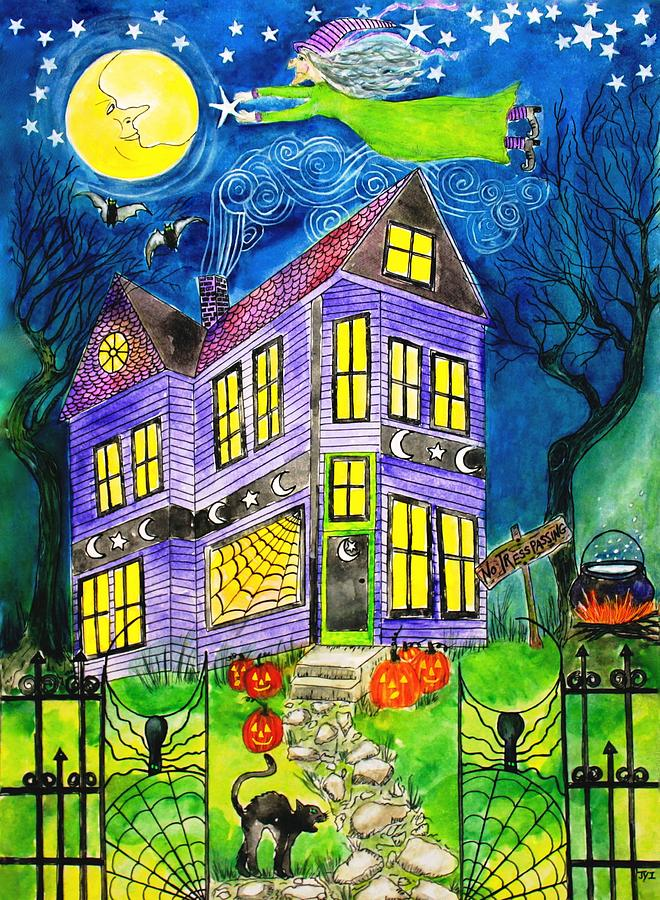 Halloween Painting - Flight Of The Moon Witch On Hallows Eve by Janet Immordino