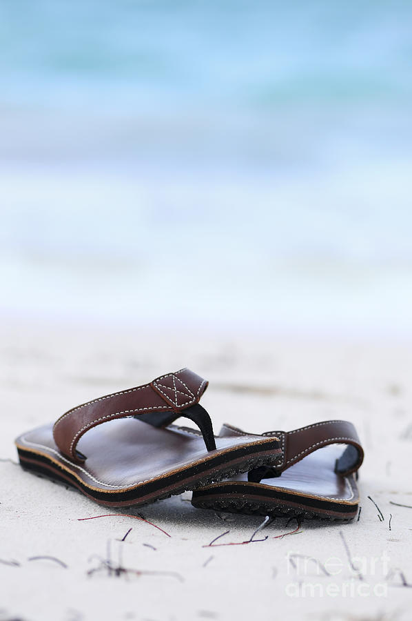 Flip-flops Photograph - Flip-flops On Beach by Elena Elisseeva