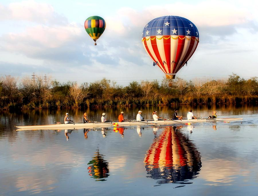 Balloon Photograph - Floating And Rowing by James Stough