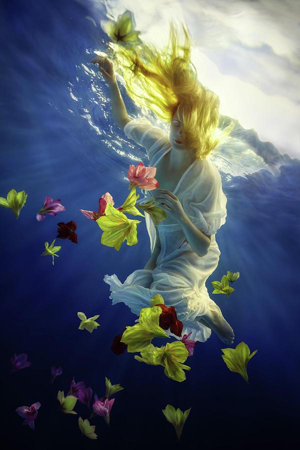 Girl Photograph - Flower Fantasy by Dmitry Laudin