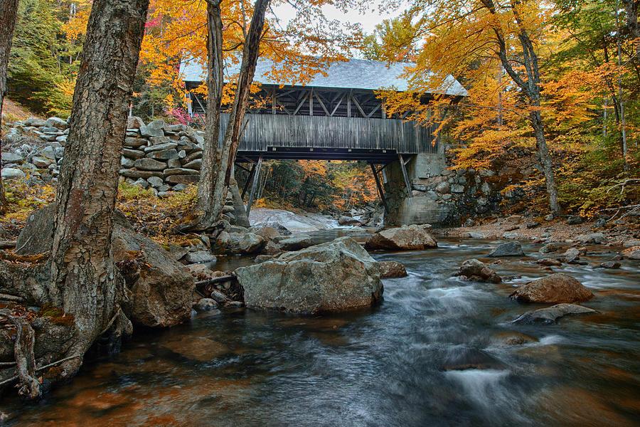 New England Autumn Photograph - Flume Gorge Covered Bridge by Jeff Folger