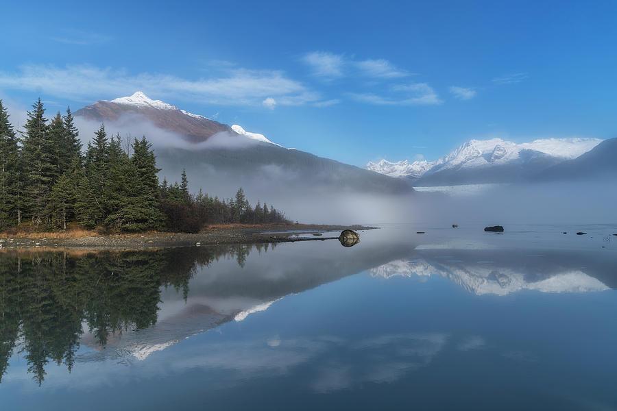 Foggy Morning At Mendenhall Lake by John Hyde
