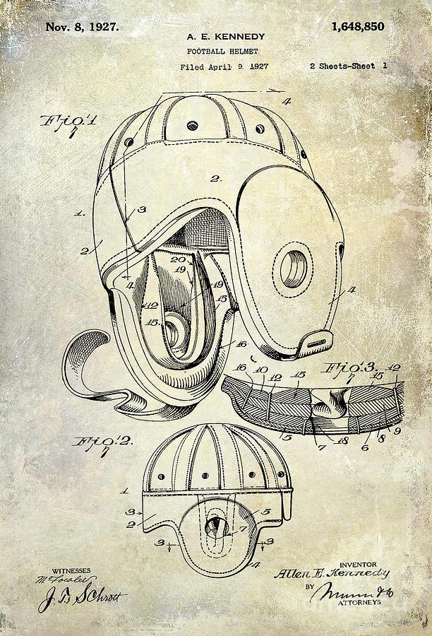 Football Photograph - 1927 Football Helmet Patent by Jon Neidert