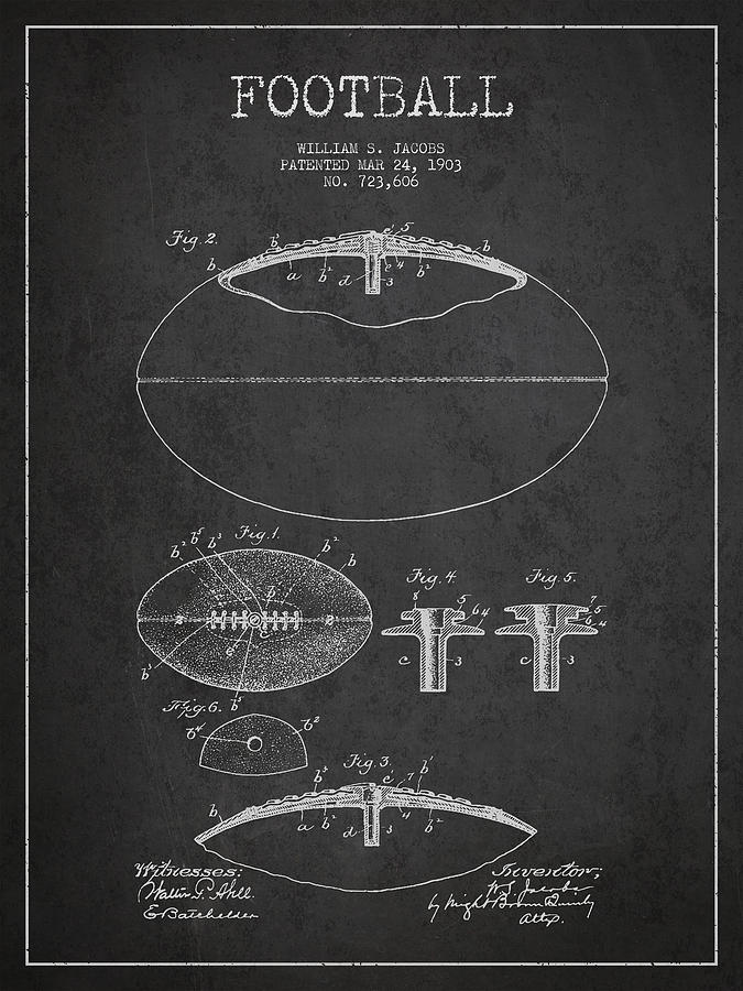 Football Patent Drawing From 1903 Digital Art