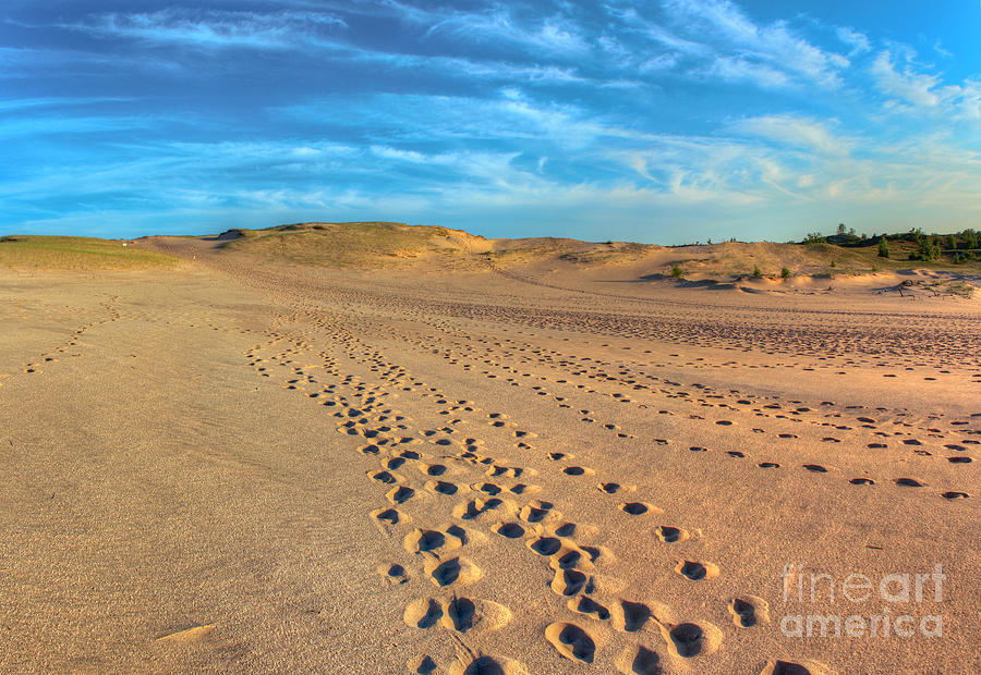Sleeping Photograph - Footprints Through The Dunes by Twenty Two North Photography