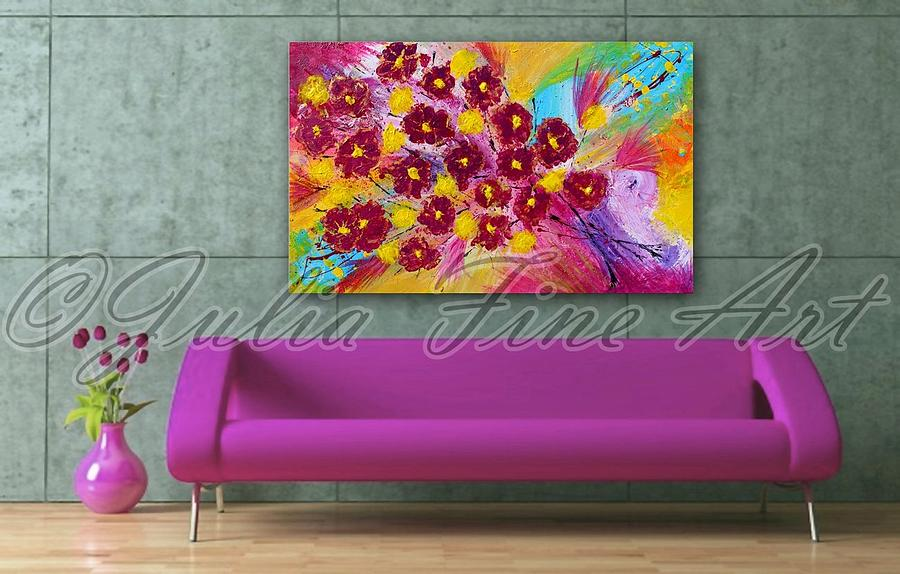 Flowers Painting -  Floral Abstract Painting  by Julia Fine Art And Photography
