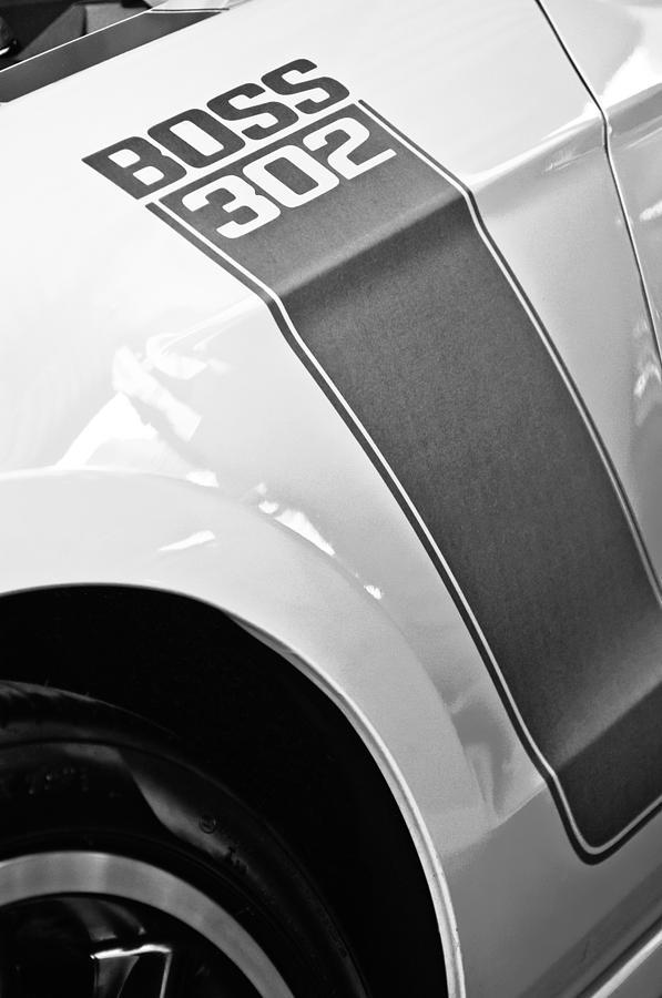 Bw Photograph - Ford Mustang Boss 302 Emblem by Jill Reger