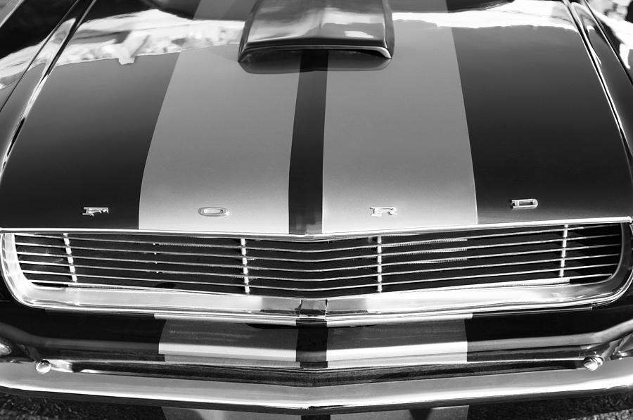 Bw Photograph - Ford Mustang Grille by Jill Reger