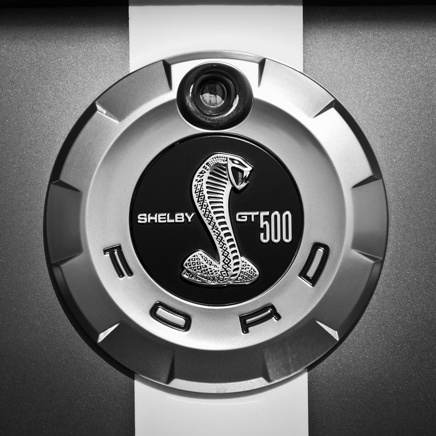 Bw Photograph - Ford Shelby Gt 500 Cobra Emblem by Jill Reger