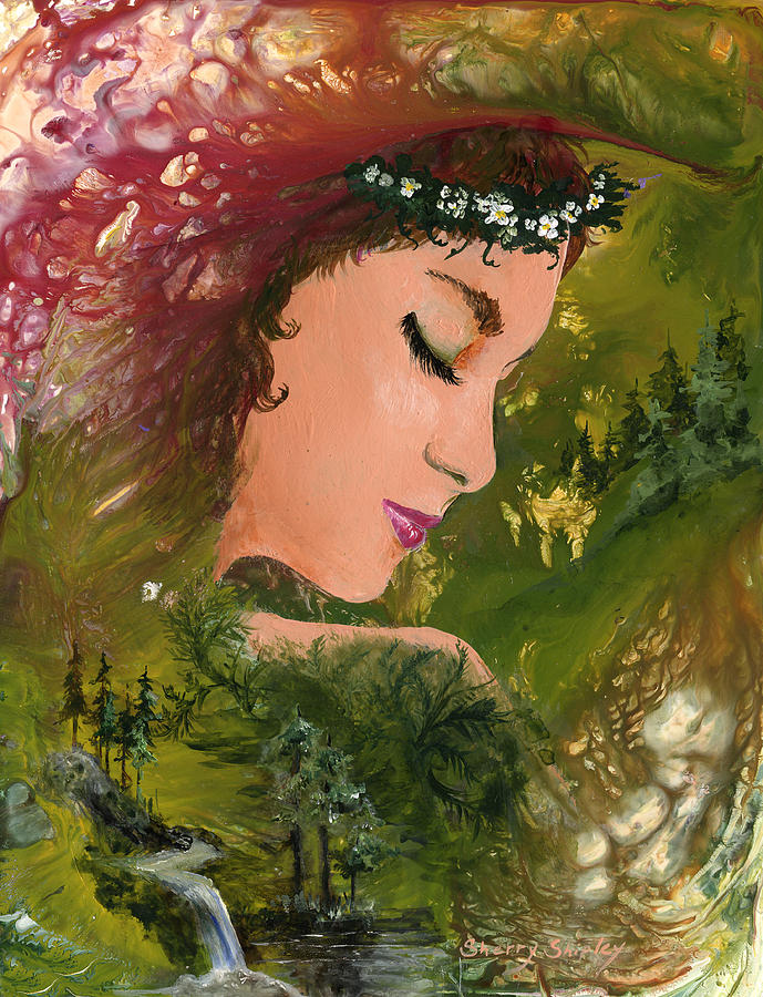 Girl Painting - Forest Girl by Sherry Shipley
