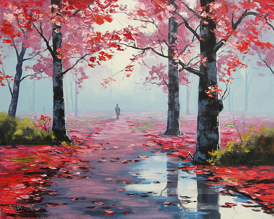 Pink Trees Painting - Forest Road by Graham Gercken