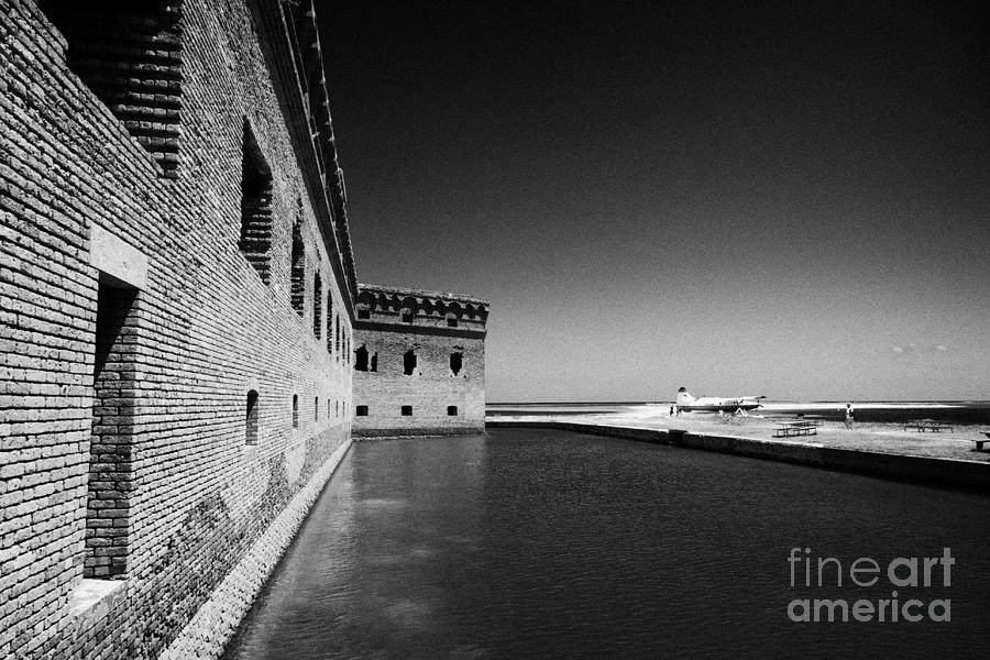 Fort Photograph - Fort Jefferson Brick Walls With Moat Dry Tortugas National Park Florida Keys Usa by Joe Fox