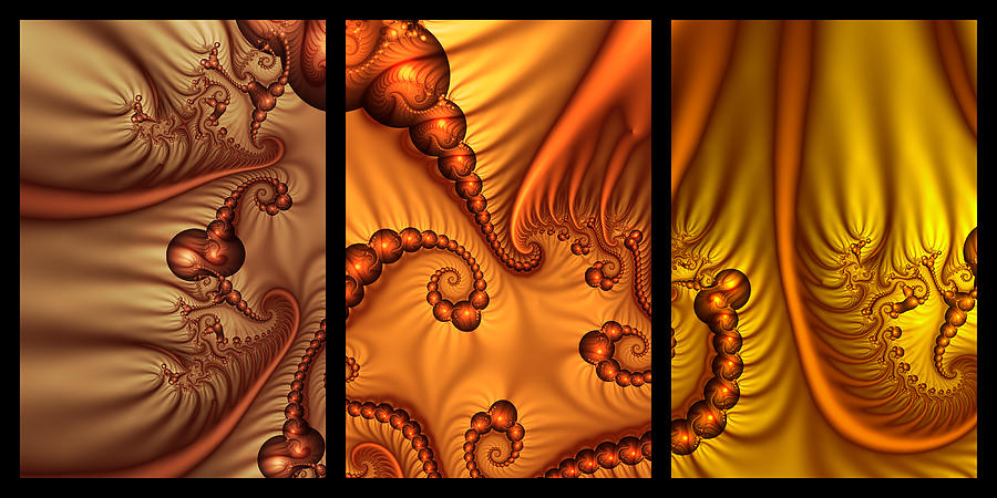 Fractal Digital Art - Fractal Triptychon by Gabiw Art