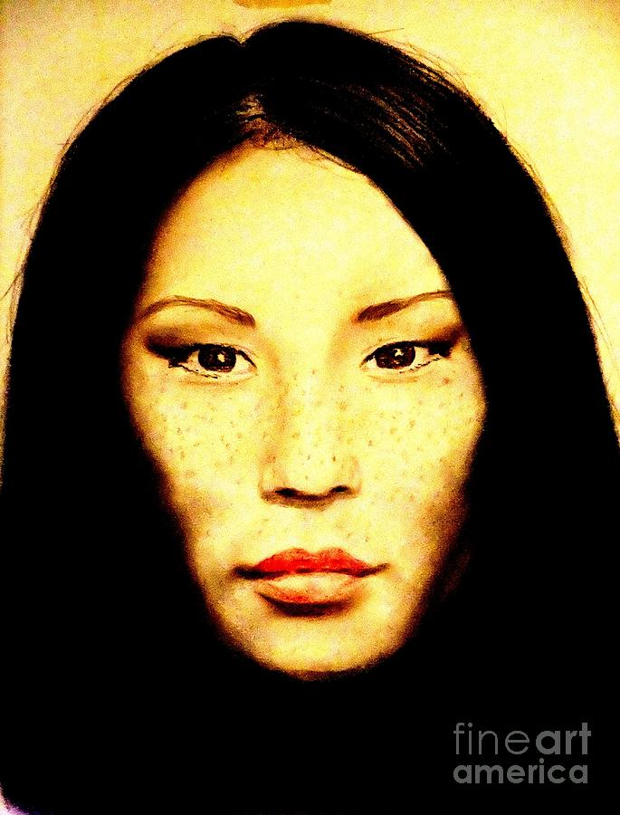 Drawing Pastel - Freckle Faced Beauty Lucy Liu  by Jim Fitzpatrick