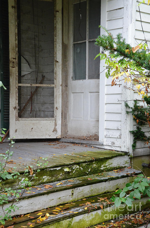 Old Photograph - Front Door Of Abandoned House by Jill Battaglia