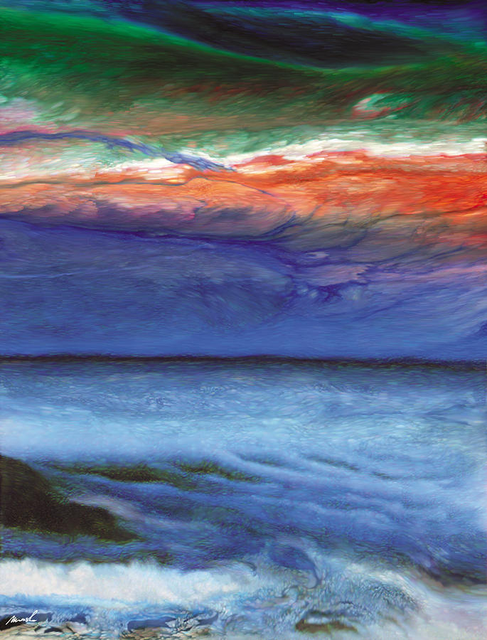 alien Landscape Painting - Frosty Wind by The Art of Marsha Charlebois
