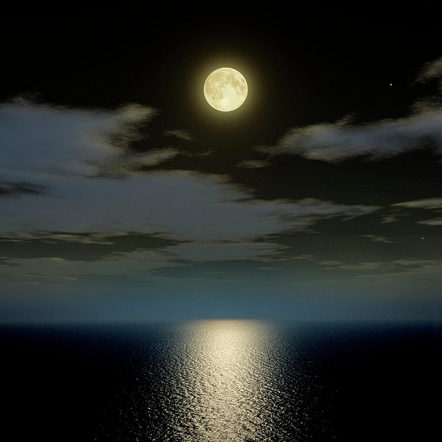 Nobody Photograph - Full Moon Over The Sea by Detlev Van Ravenswaay
