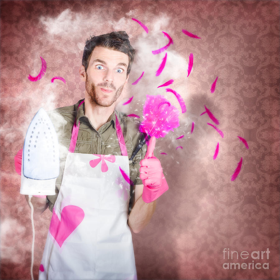 Funny Cleaning Man Doing Housework Chores