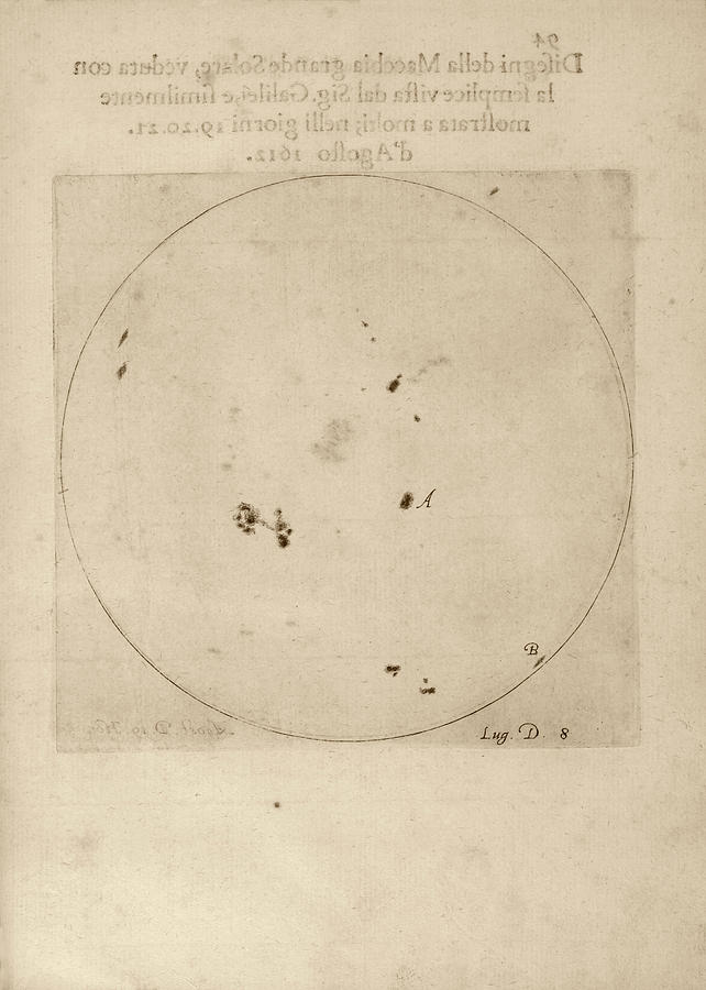 Sunspot Photograph - Galileos Observation Of Sunspots by Library Of Congress