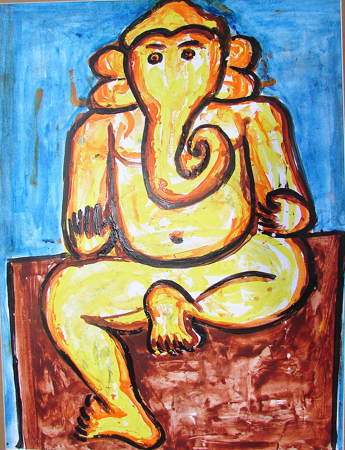 Acrylics Painting - Ganesha-a4 by Anand Swaroop Manchiraju