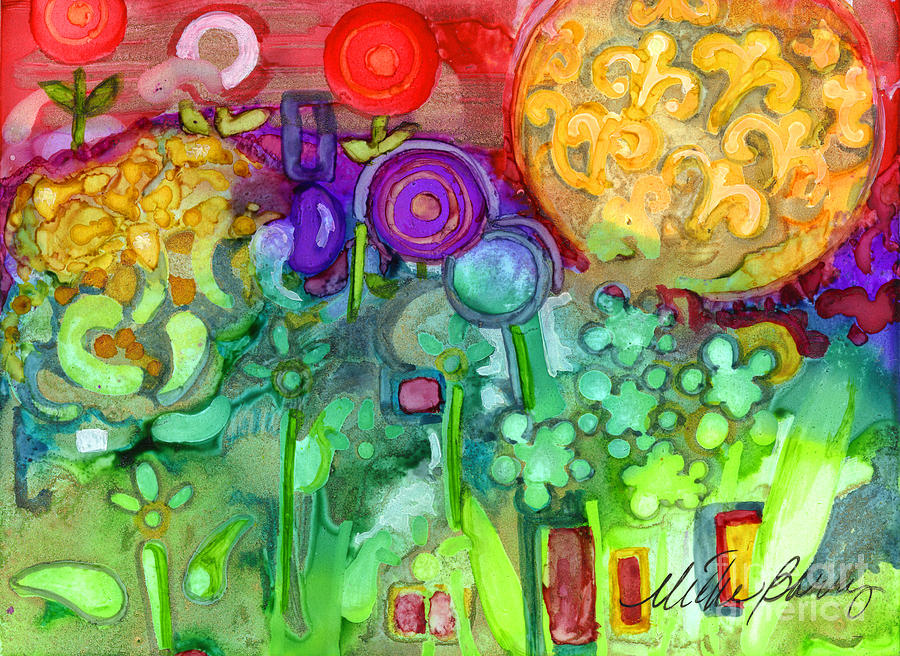 Abstract Floral Painting - Garden Sunset by Vicki Baun Barry
