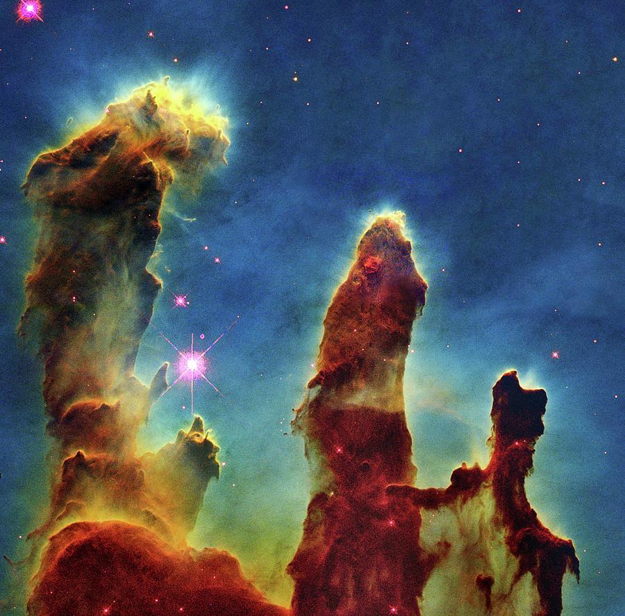 Abnormal Photograph - Gas Pillars In The Eagle Nebula by Nasaesastscij.hester & P.scowen, Asu