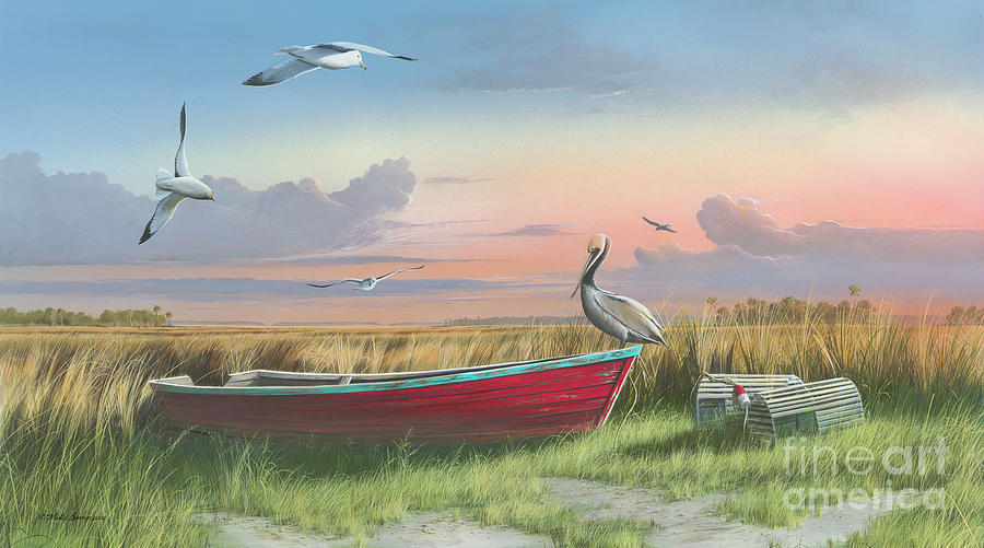 Sunrise Painting - Gathering at Sunrise by Mike Brown