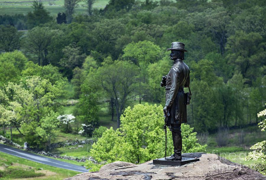 Adams County Photograph - General Warren At Little Round Top by John Greim