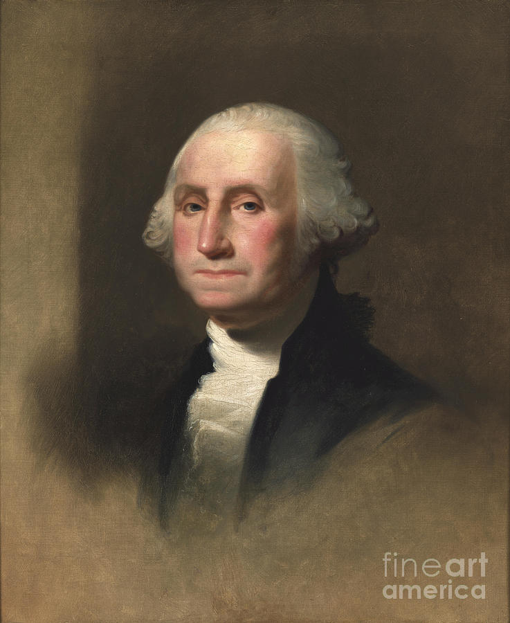 Male; First; Uniform; Epaulet; Epaulette; Cravat; General; Oval; Leader; Portrait; Head; Shoulders Painting - George Washington by Rembrandt Peale