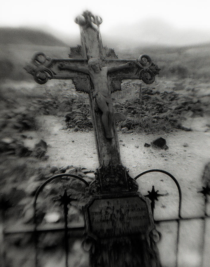 Cemetery Photograph - Ghost Town Cross by Sonja Quintero