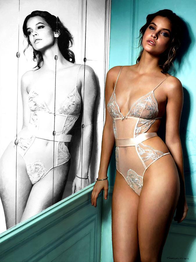 Sexy Girl Digital Art - Girl And Mirror 1 by Gabriel T Toro