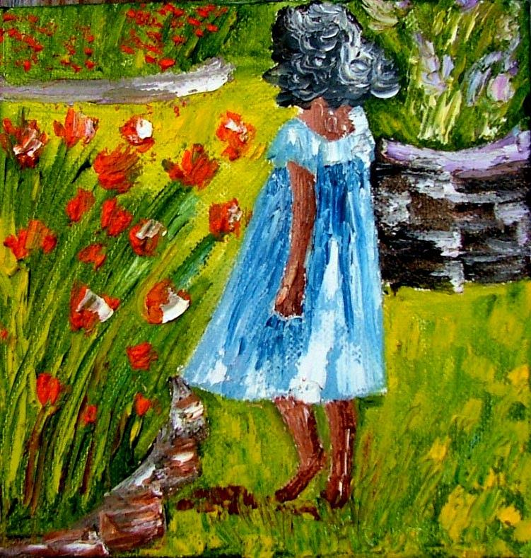 Painting Painting - Girl In The Garden by Inna Montano
