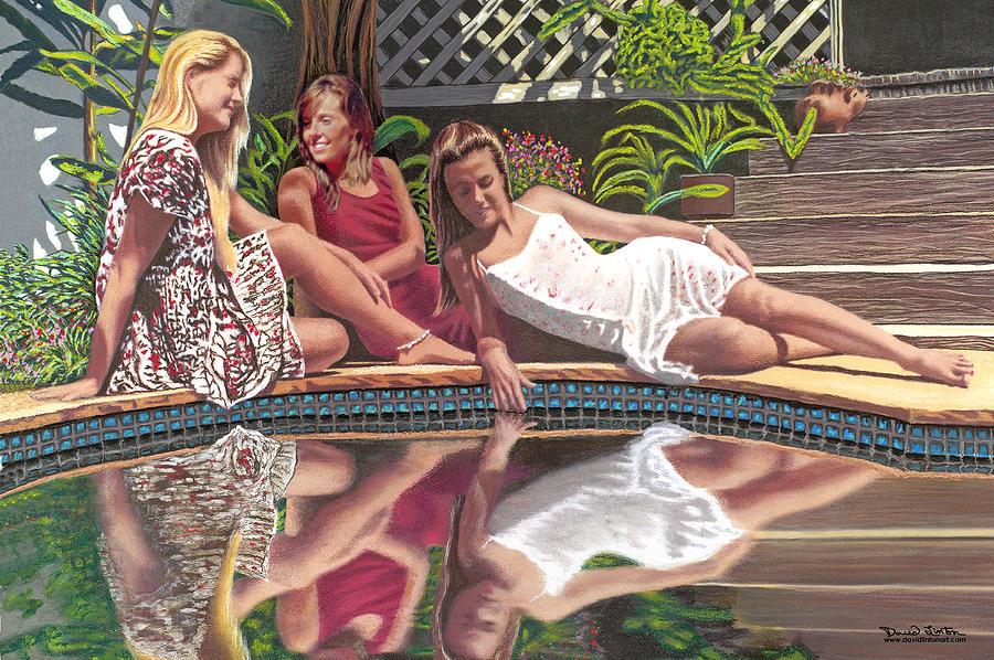 Female Painting - Girl Talk by David Linton