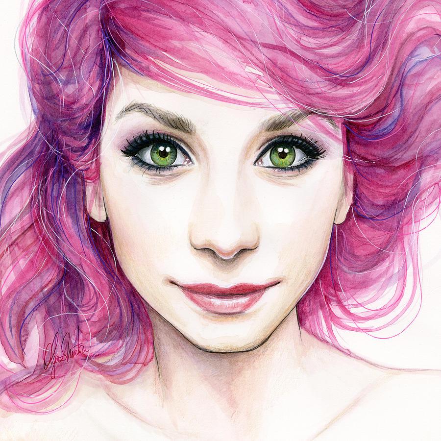 Magenta Painting - Girl With Magenta Hair by Olga Shvartsur