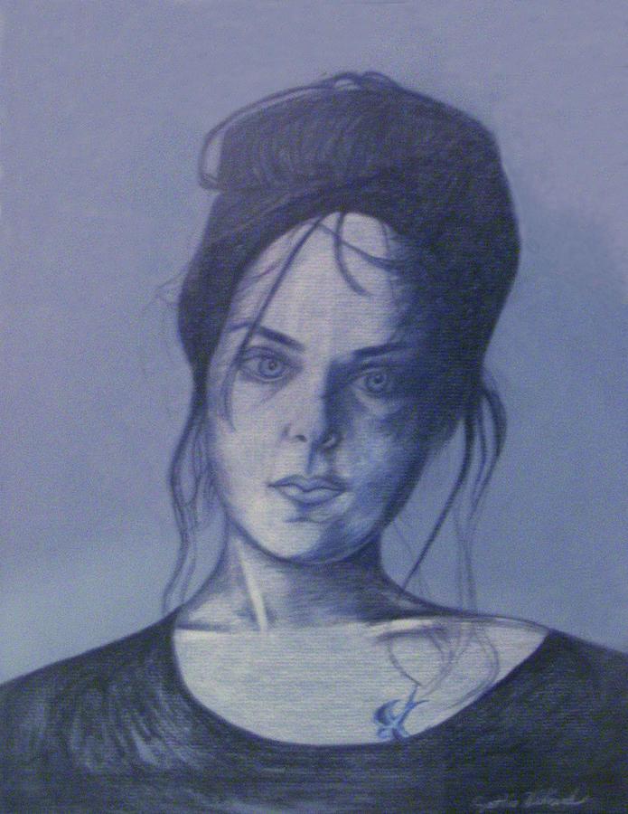 Woman Drawing - Girl With Tattoo by Cynthia Hilliard