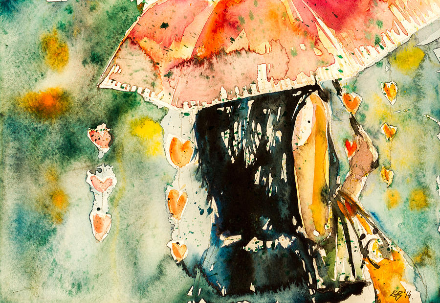 Girl Painting - Girl With Umbrella 3 by Kovacs Anna Brigitta