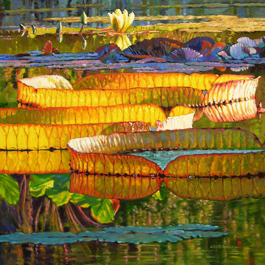 Water Lilies Painting - Glorious Morning Lilies by John Lautermilch