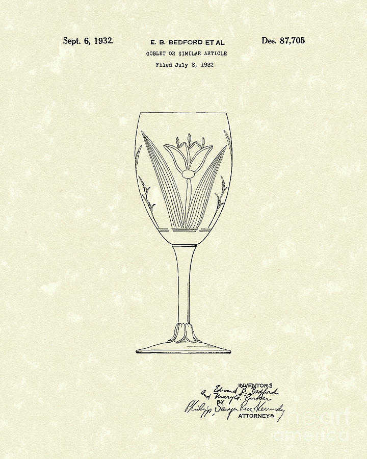 Bedford Drawing - Goblet 1932 Patent Art by Prior Art Design