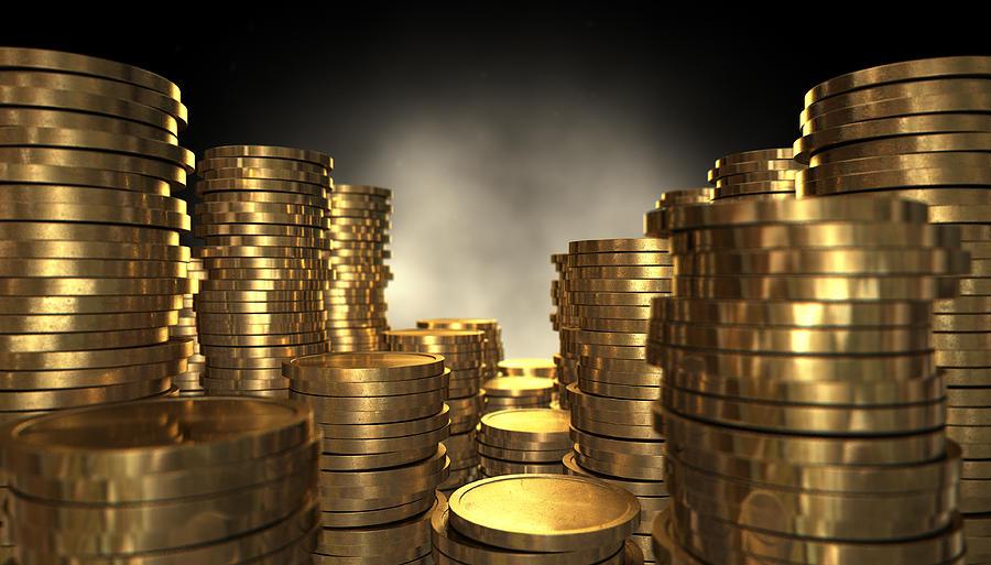 Coin Digital Art - Gold Coin Stacks by Allan Swart