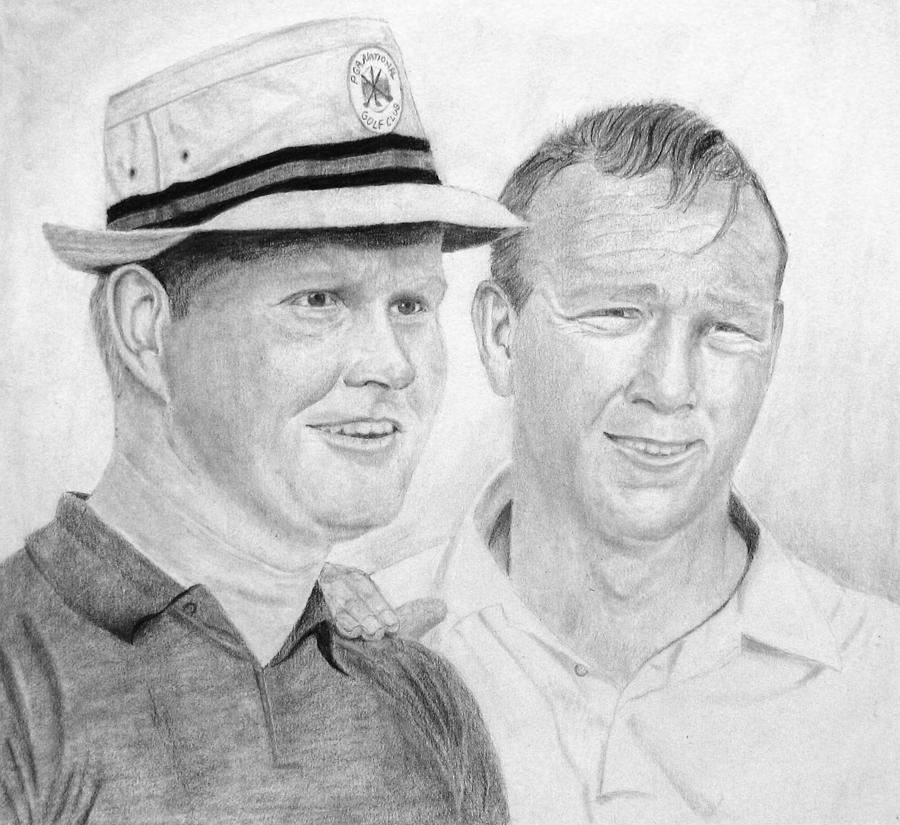 Golf Drawing - Golden Bear And The King by Steve Keller