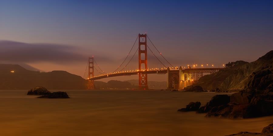 America Photograph - Golden Gate Bridge At Sunset by Melanie Viola